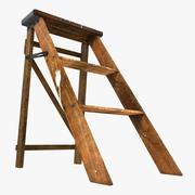 Scaletta in legno vecchio 3d model
