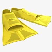 Yüzgeçleri Sarı yüzmek 3d model