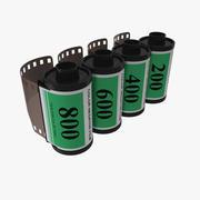 Conjunto de rollo de película de 35 mm verde modelo 3d