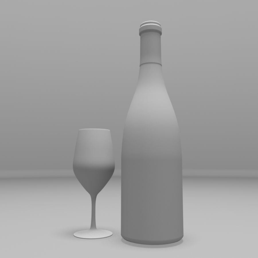 Бутылка вина royalty-free 3d model - Preview no. 7