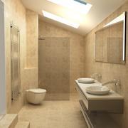 Moderne eigentijdse badkamer 3d model