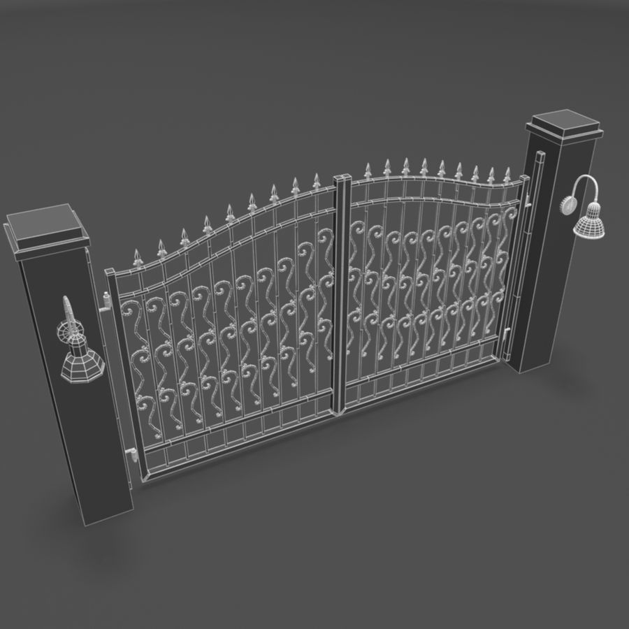 Wrought Iron Gate royalty-free 3d model - Preview no. 9