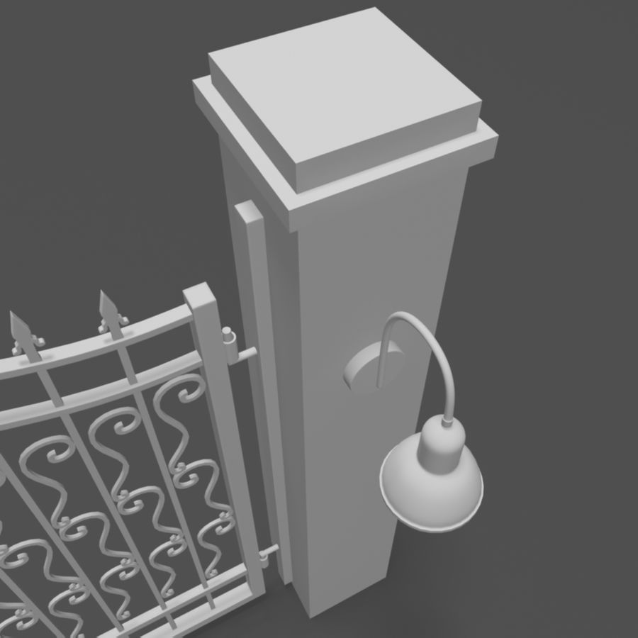 Wrought Iron Gate royalty-free 3d model - Preview no. 6