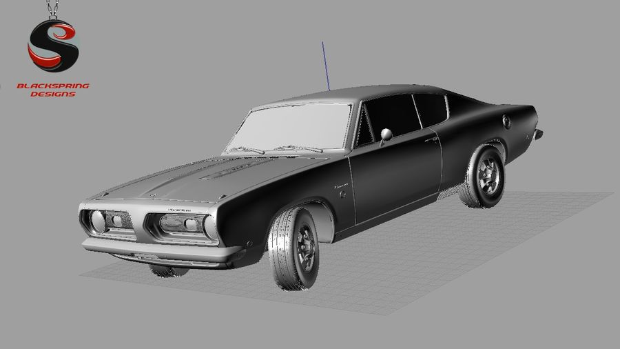 Plymouth Barracuda S 1968 royalty-free 3d model - Preview no. 8