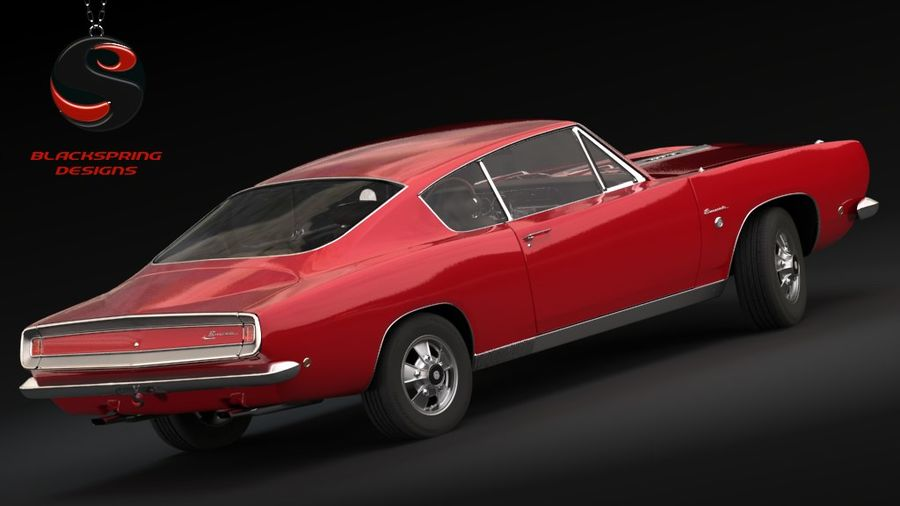Plymouth Barracuda S 1968 royalty-free 3d model - Preview no. 3