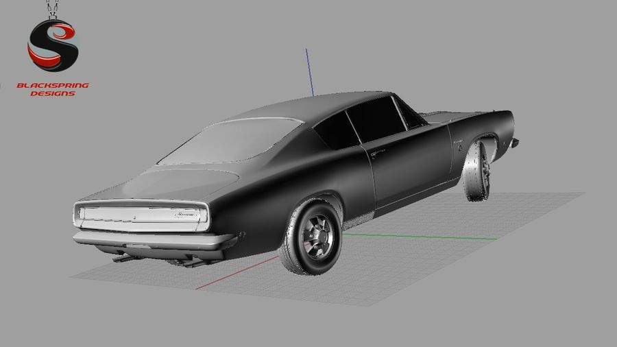 Plymouth Barracuda S 1968 royalty-free 3d model - Preview no. 9