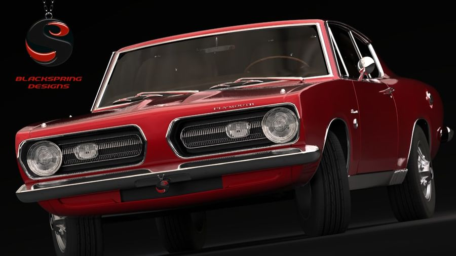 Plymouth Barracuda S 1968 royalty-free 3d model - Preview no. 2