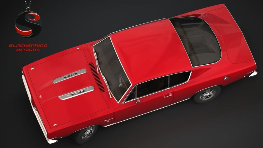Plymouth Barracuda S 1968 royalty-free 3d model - Preview no. 5
