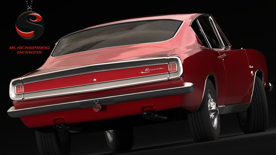 Plymouth Barracuda S 1968 royalty-free 3d model - Preview no. 4