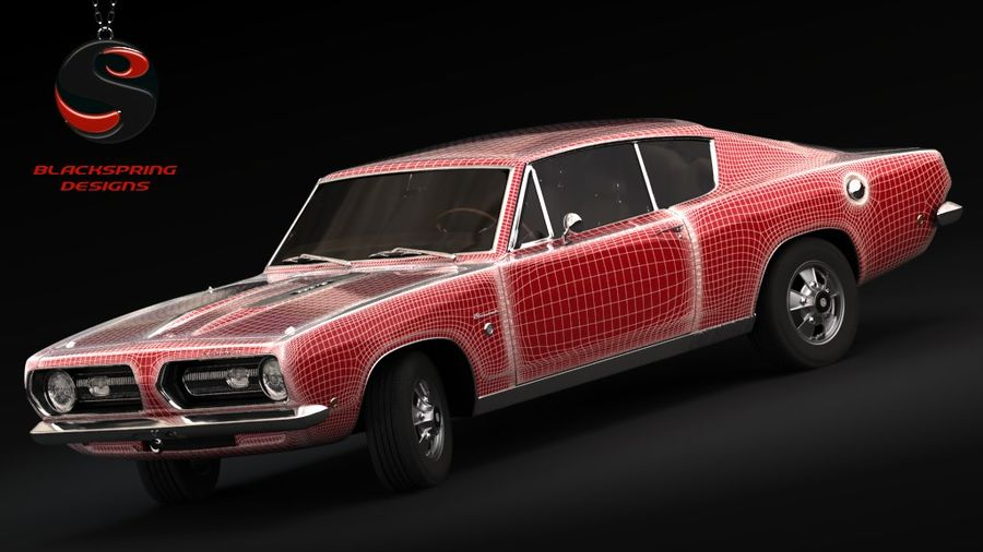 Plymouth Barracuda S 1968 royalty-free 3d model - Preview no. 6