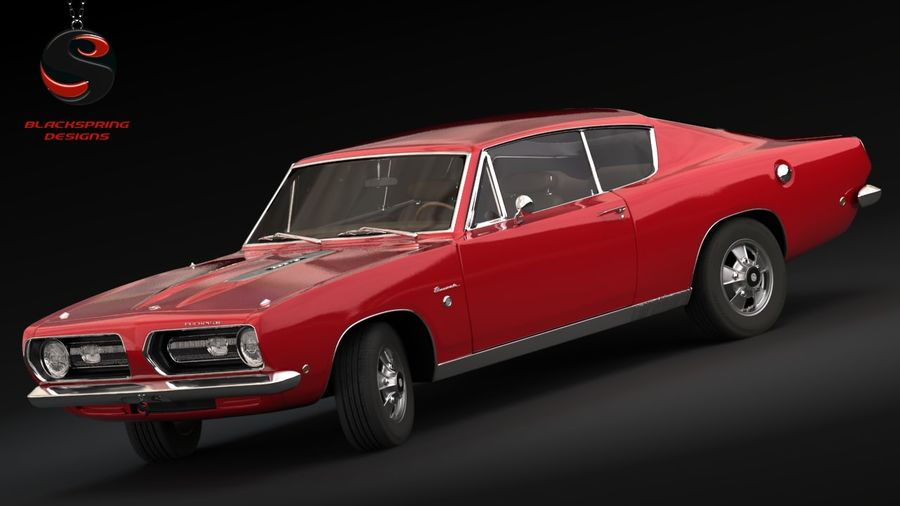 Plymouth Barracuda S 1968 royalty-free 3d model - Preview no. 1