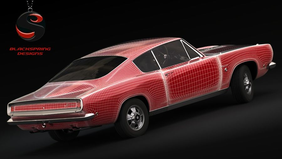 Plymouth Barracuda S 1968 royalty-free 3d model - Preview no. 7