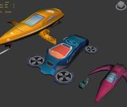 Cartoon Space Crafts 3d model