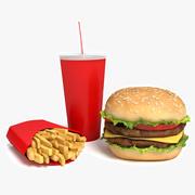 버거 감자 튀김과 음료 3d model