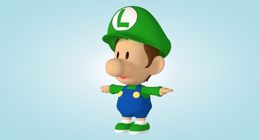 Baby Luigi Bros royalty-free 3d model - Preview no. 7