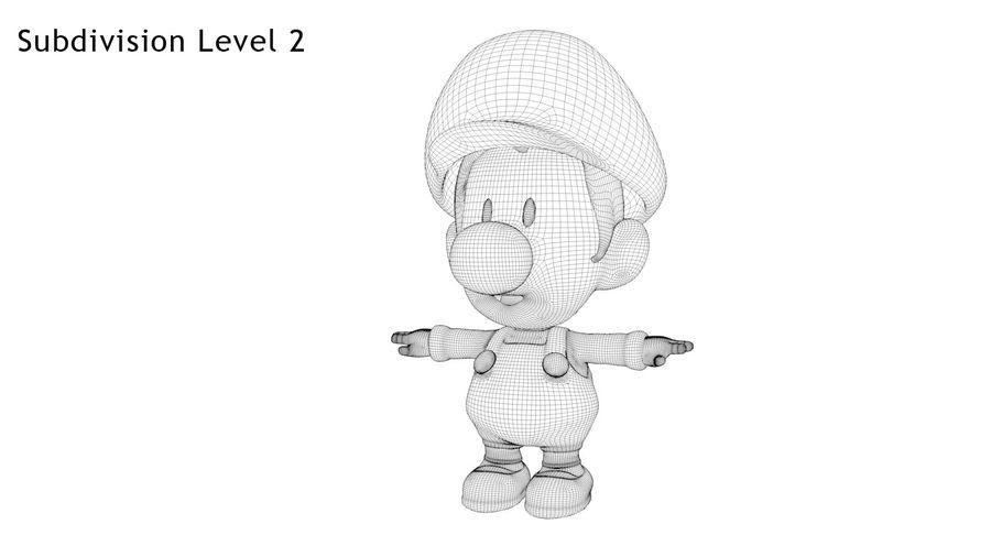 Baby Luigi Bros royalty-free 3d model - Preview no. 10