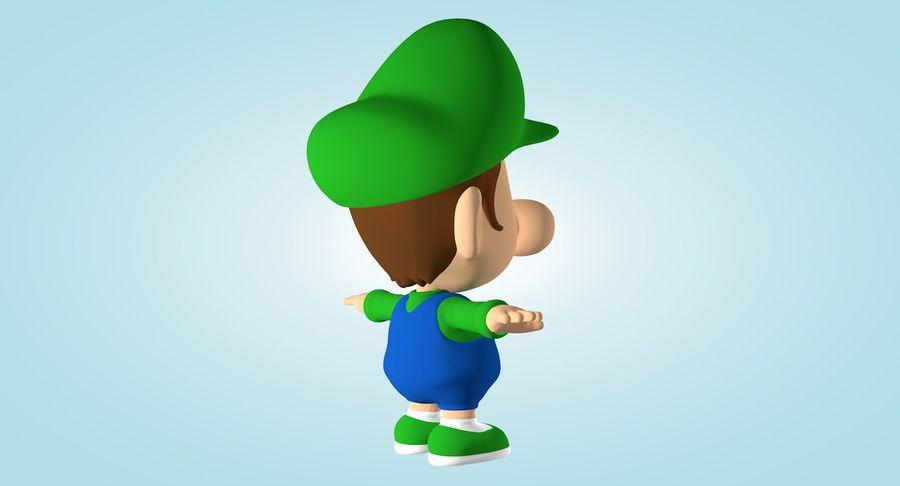 Baby Luigi Bros royalty-free 3d model - Preview no. 6