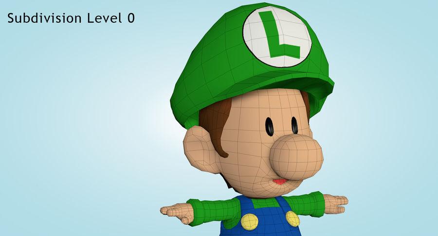 Baby Luigi Bros royalty-free 3d model - Preview no. 17