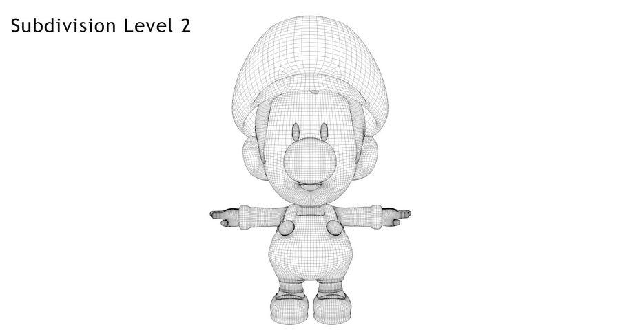 Baby Luigi Bros royalty-free 3d model - Preview no. 12