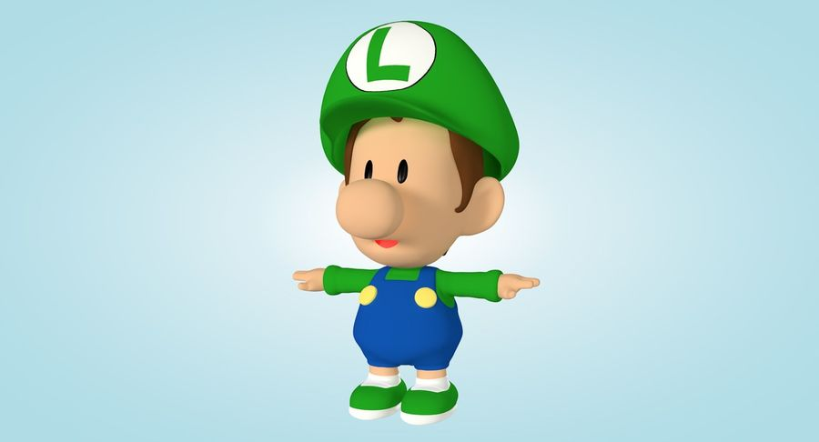 Baby Luigi Bros royalty-free 3d model - Preview no. 3