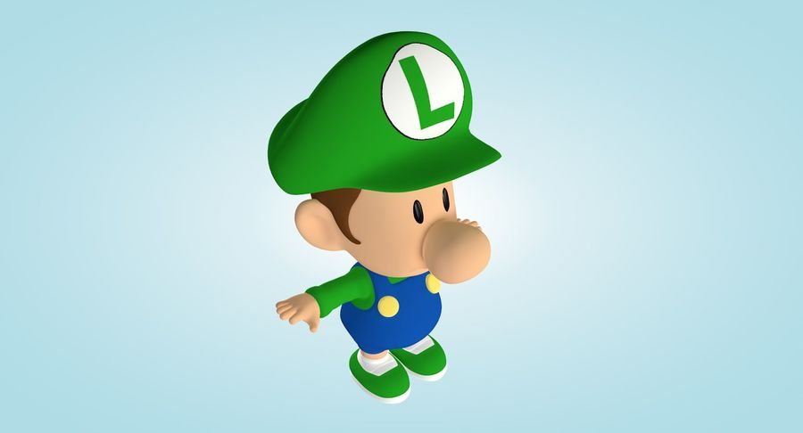 Baby Luigi Bros royalty-free 3d model - Preview no. 5