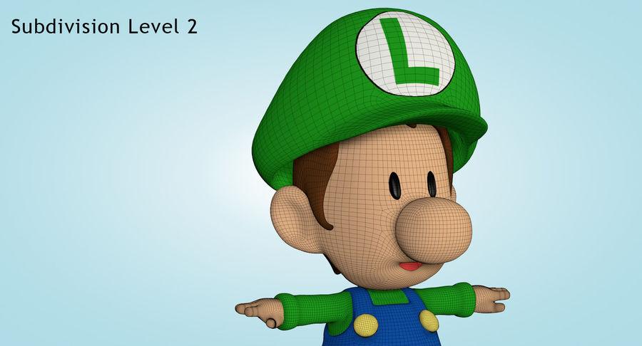 Baby Luigi Bros royalty-free 3d model - Preview no. 18
