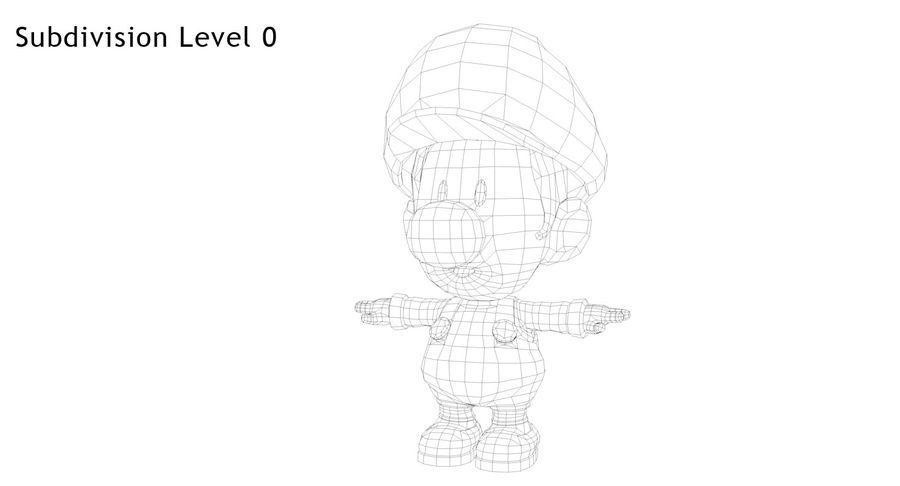 Baby Luigi Bros royalty-free 3d model - Preview no. 9