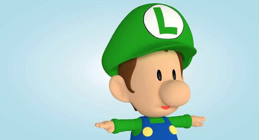 Baby Luigi Bros royalty-free 3d model - Preview no. 8