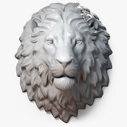 Lion Head Sculpture Calm 3d model