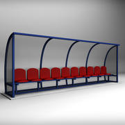 Stadium seating reserve bench low 3d model