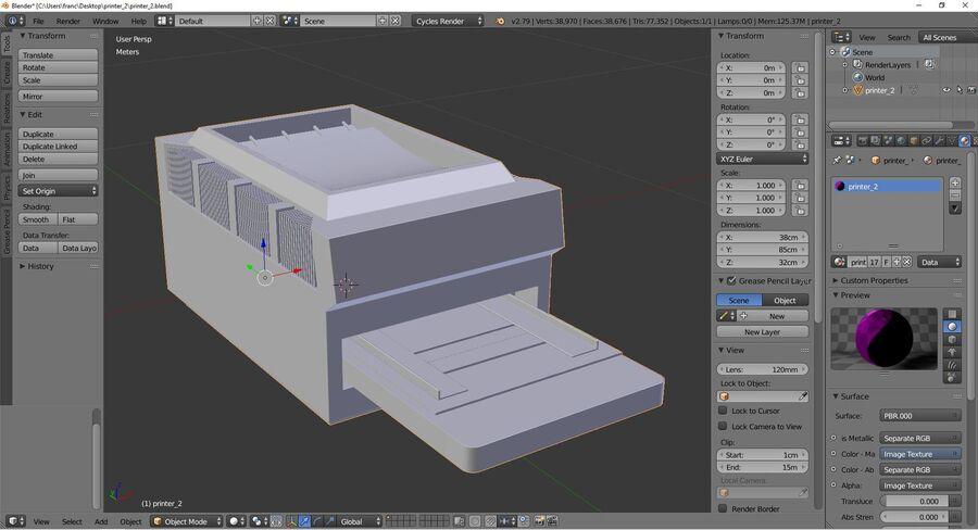 プリンター2 royalty-free 3d model - Preview no. 9