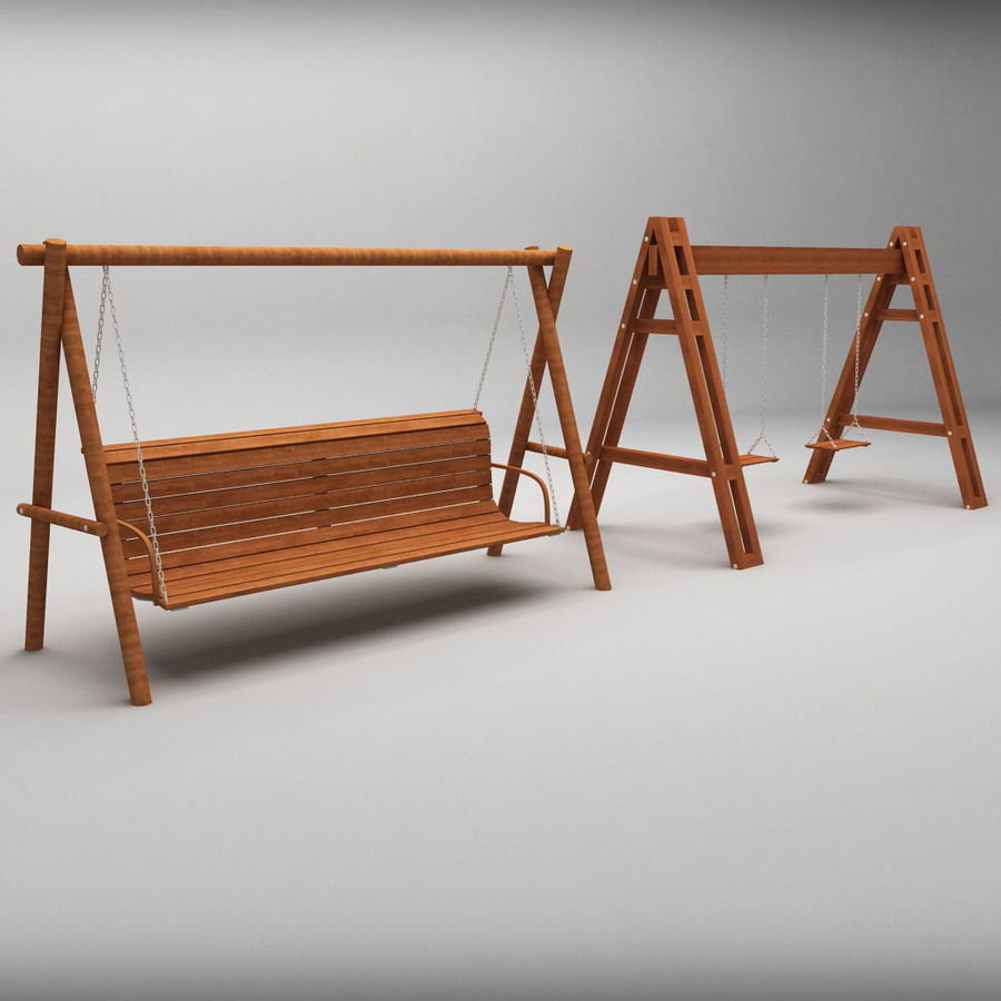 Tuin houten schommels pack royalty-free 3d model - Preview no. 2