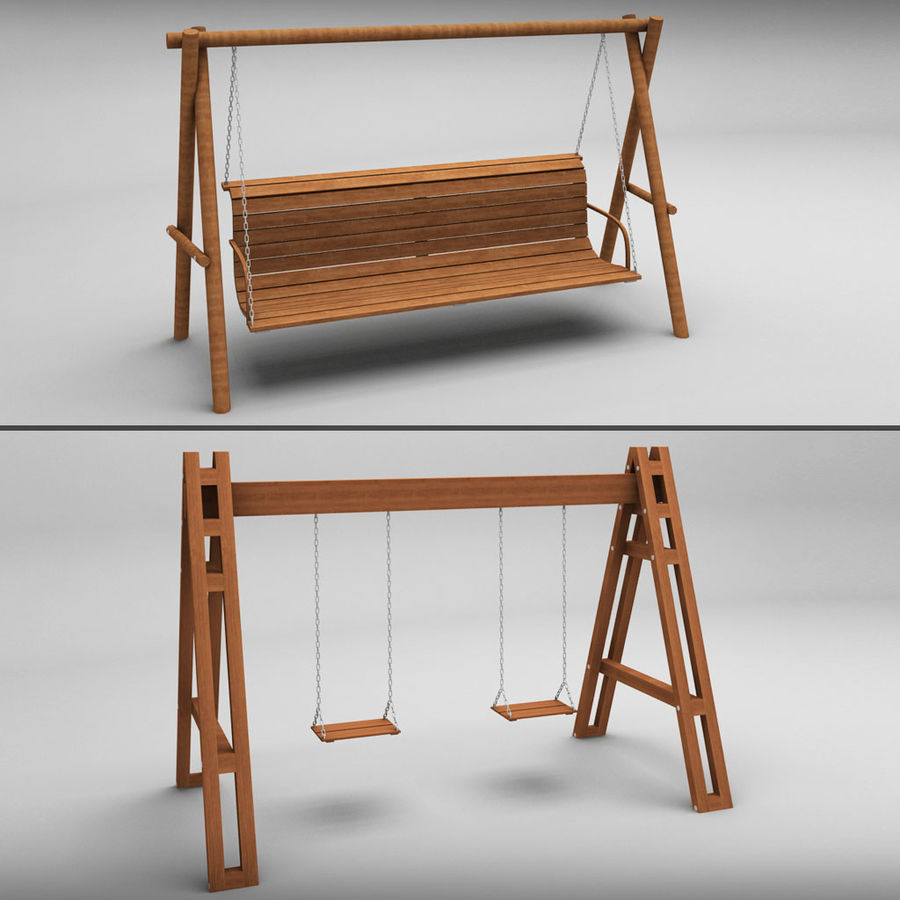 Tuin houten schommels pack royalty-free 3d model - Preview no. 1
