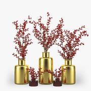 Ветки с ягодами в вазе 3d model