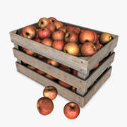 Crate with Red Apples 3d model