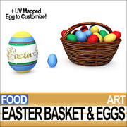 Easter Basket and Eggs 3d model