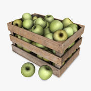Crate with Green Apples 3d model