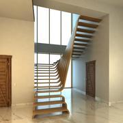 Kreative Holztreppen-Szene 3d model