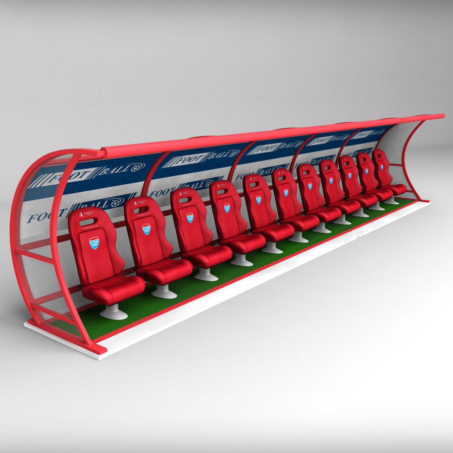Stadium seating reserve bench royalty-free 3d model - Preview no. 4
