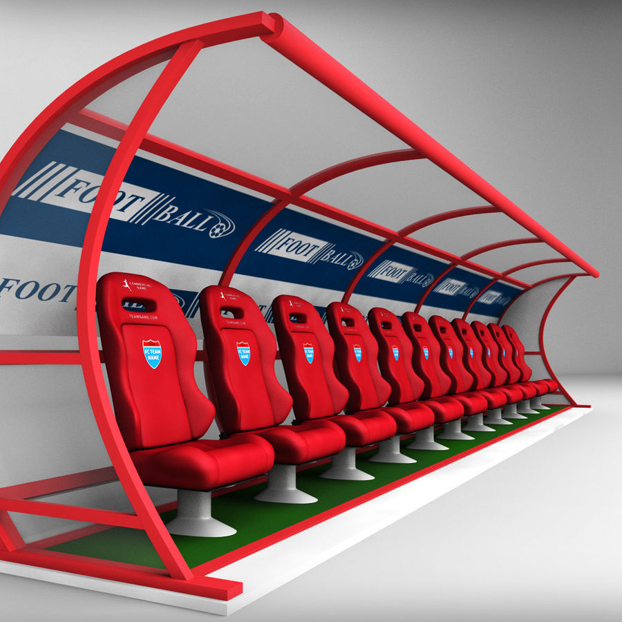 Stadium seating reserve bench royalty-free 3d model - Preview no. 1