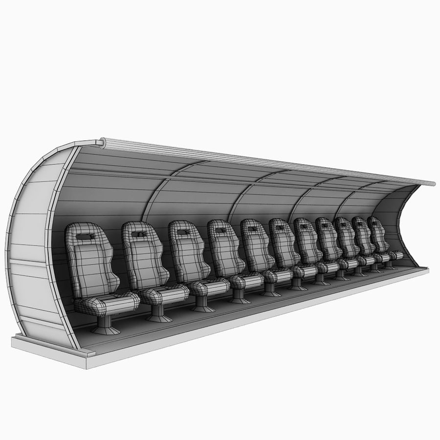 Stadium seating reserve bench royalty-free 3d model - Preview no. 11