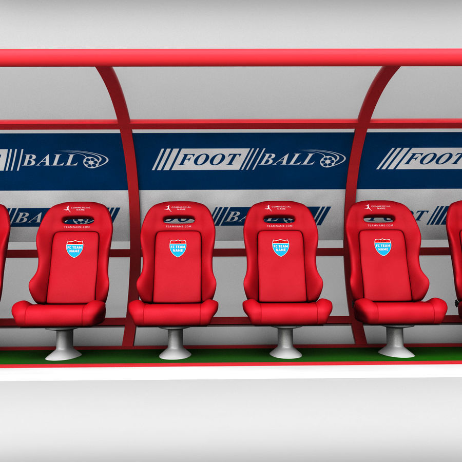 Stadium seating reserve bench royalty-free 3d model - Preview no. 6