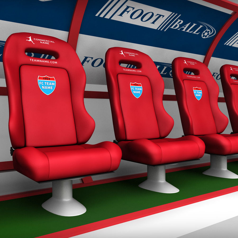 Stadium seating reserve bench royalty-free 3d model - Preview no. 2