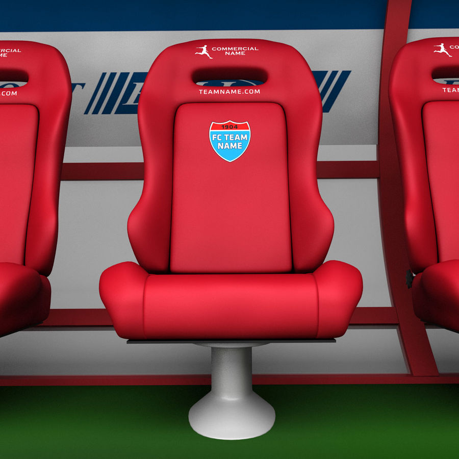 Stadium seating reserve bench royalty-free 3d model - Preview no. 5