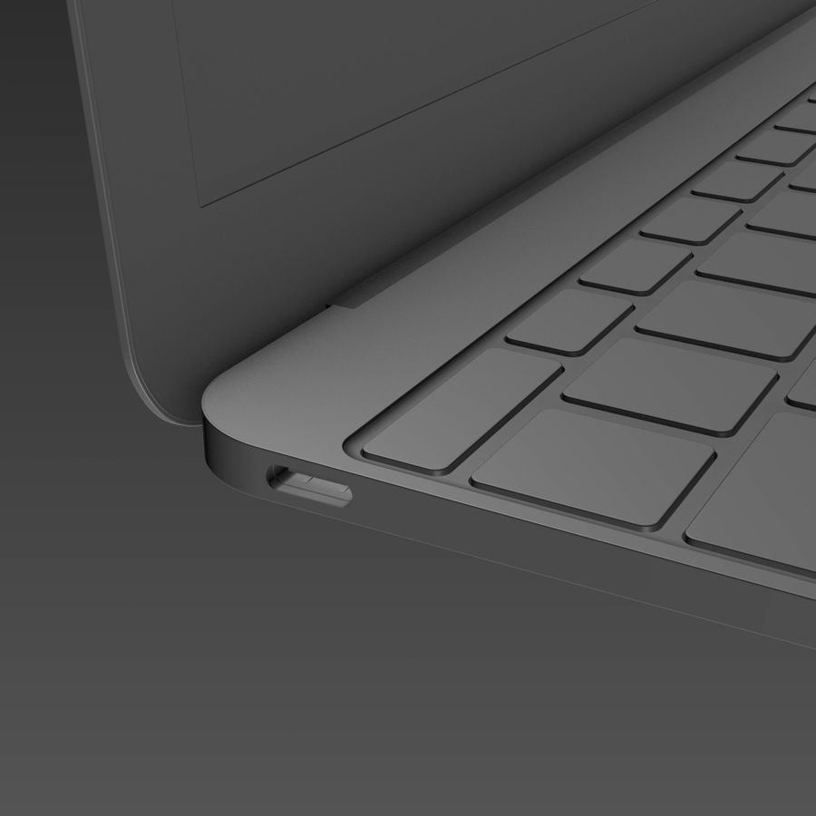 Macbook 2015 royalty-free 3d model - Preview no. 15