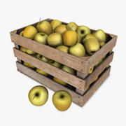 Crate with Yellow Apples 3d model