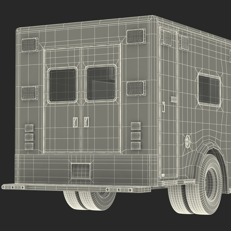 International Durastar Ambulance Rigged 3D Model royalty-free 3d model - Preview no. 60