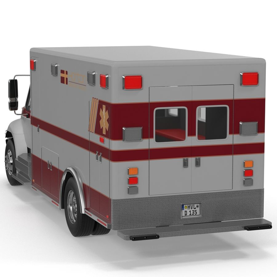 International Durastar Ambulance Rigged 3D Model royalty-free 3d model - Preview no. 13