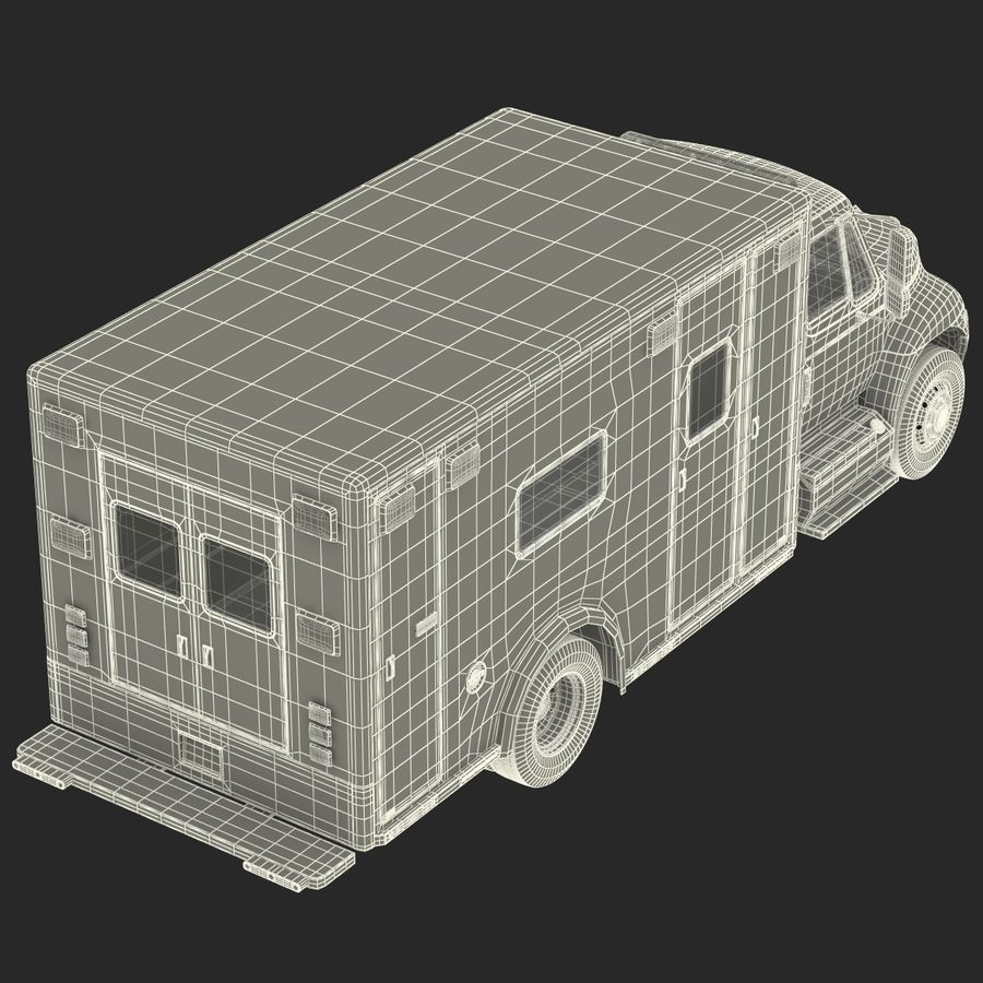 International Durastar Ambulance Rigged 3D Model royalty-free 3d model - Preview no. 61