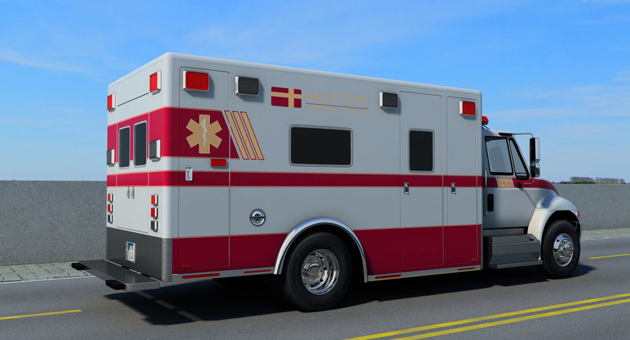 International Durastar Ambulance Rigged 3D Model royalty-free 3d model - Preview no. 6